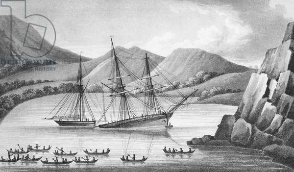 Brig Jane and Cutter Beaufoy passing through a chain of Ice Islands, 1826 (engraving)