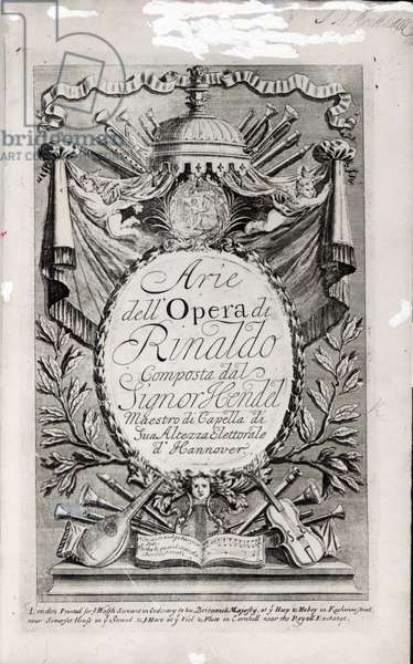 Title page of 'Arie dell'Opera di Rinaldo', published by John Walsh senior and John Hare in London, 1711 (printed paper)