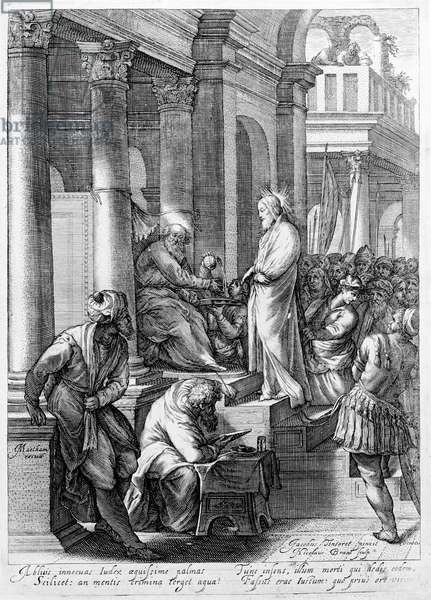 Christ before Pilate, engraved by Nicolaes Braeu (engraving)