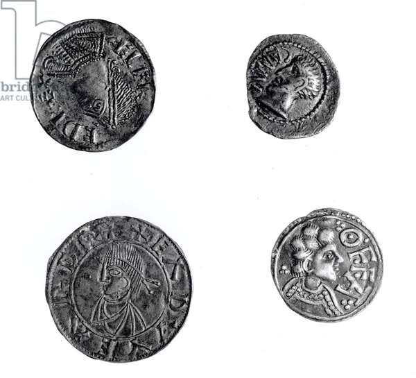 Coins of Cunobelinus or Cymbeline (d.43 AD), Offa, King of Mercia (757-96 AD) and Alfred (871-99 AD) and Edward the Elder (871-924 AD) (silver) (b&w photo)