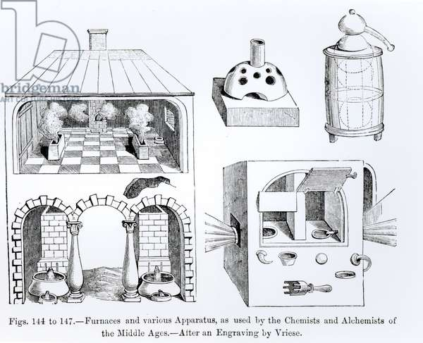 Furnaces and various Apparatus (litho) (b/w photo)