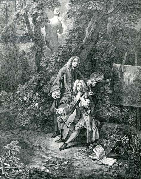 Jean Antoine Watteau and his friend Monsieur de Julienne (engraving)