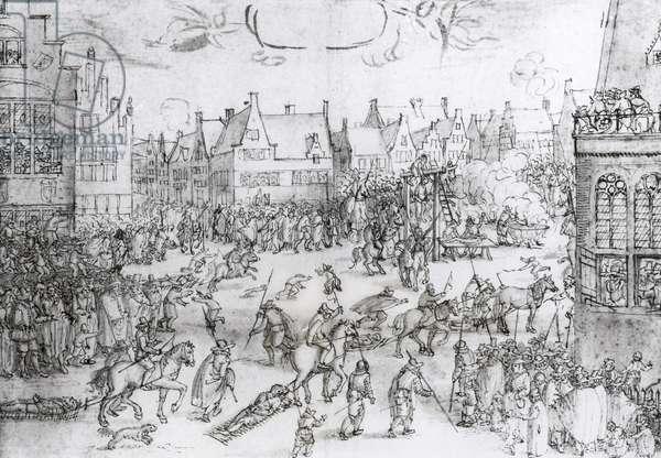 The Death of the Gunpowder Conspirators, 31st January 1606 (engraving) (b/w photo)