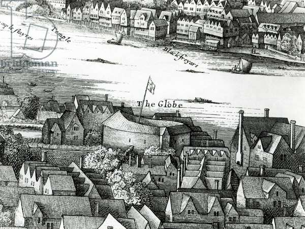The First Globe Theatre or Rose Theatre (engraving) (b/w photo)
