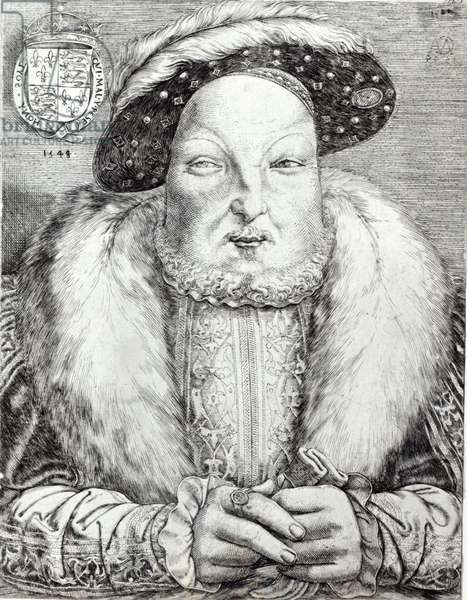 Portrait of Henry VIII, 1548 (engraving) (b/w photo)