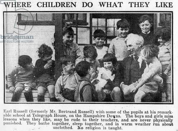 Bertrand Russell with pupils at his Beacon Hill School, 1931 (b/w photo)