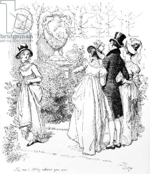 'No, no, stay where you are', illustration from 'Pride & Prejudice' by Jane Austen, edition published in 1894 (engraving)