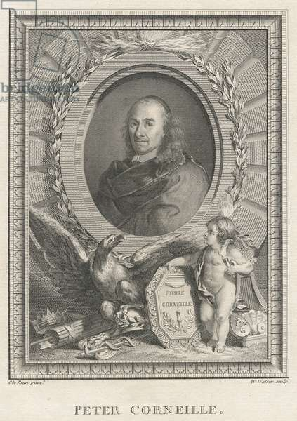 Pierre Corneille (1606-84) French playwright (engraving) (b&w photo)