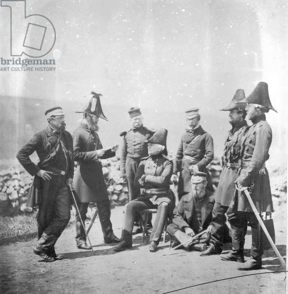 Lieutenant General Sir George Brown G.C.B and officers of his staff, c.1855 (b/w photo)