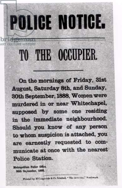 Police Notice to the Occupier Relating to Murders in Whitechapel, 30th September 1888 (print)