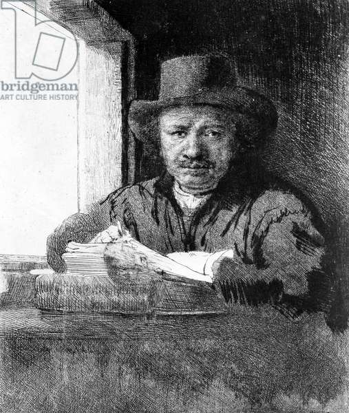 Self portrait while drawing, 1648 (etching)