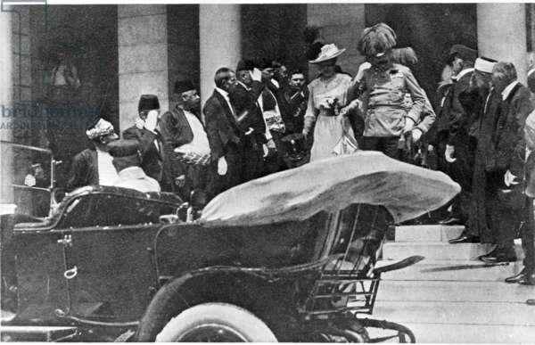 Photograph of the Archduke and Duchess leaving the Town Hall, a few minutes before their deaths on 28th June 1914, 1914 (b/w photo)