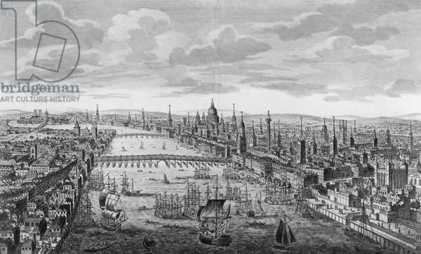 A General View of the City of London next to the River Thames, c.1780 (engraving) (b/w photo)