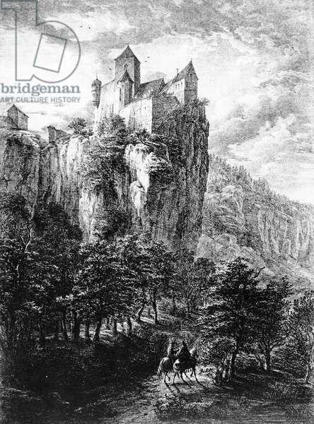 Schloss Prunn in Altmuhlthal, print by Friedrich Wilhelm Bollinger, 1818 (litho)