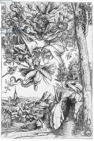 The Temptation of St.Anthony, 1506 (woodcut) (b/w photo)