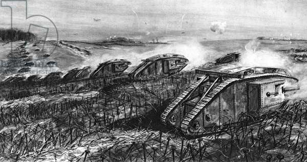 A Tank Offensive at Cambrai, France (litho)