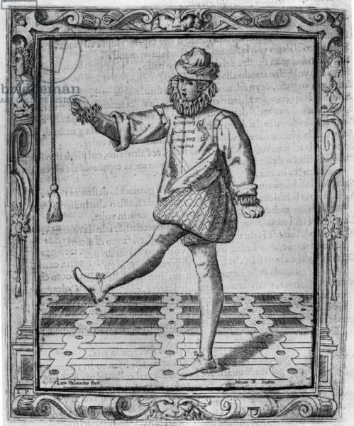 Courtly Dancer, Illustration from 'Nuvone inventioni di balli' by Cesare Negri, print made by Leon Pallavicino, published 1604 (engraving)