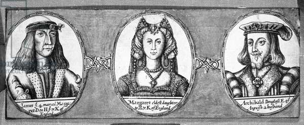 Margaret Tudor with two of her husbands, James IV and Archibald Douglas (engraving)