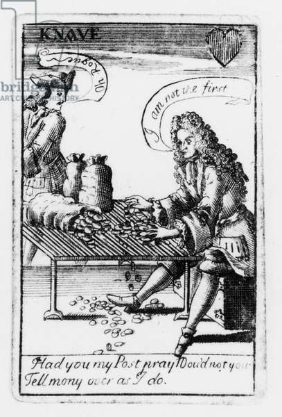 Playing cards commemorating the War of the Spanish Succession, heart suit, c.1707 (engraving) (b&w photo) (detail of 115651)