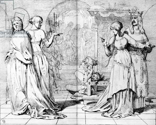 Cordelia led away from Goneril and Regan, illustration from 'The Germ', 1850 (etching)