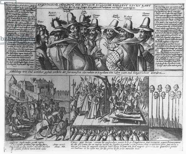 The Gunpowder Plot Conspirators, 1606 (engraving) (b&w photo)