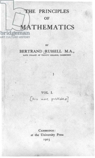 Title Page for 'The Principles of Mathematics' by Bertrand Russell, published 1903 (printed paper)