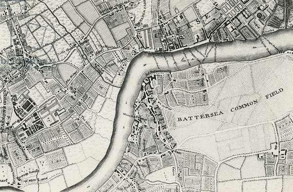 Map of Battersea & Chelsea, 1748 (engraving)