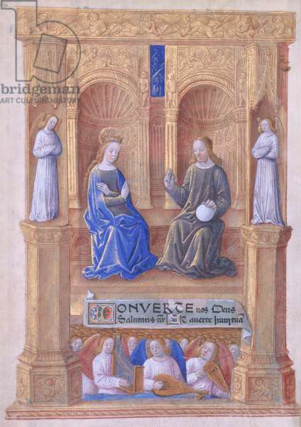 Ms Lat. Q.v.I.126 f.40v Christ and the Virgin Mary Enthroned, from the 'Book of Hours of Louis d'Orleans', 1469 (vellum)