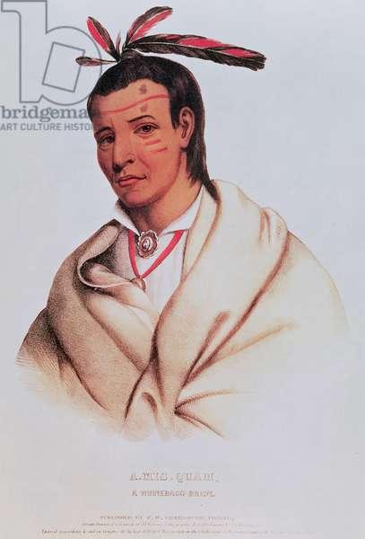 Portrait of A-Mis-Quam, a winnebago brave (coloured engraving)