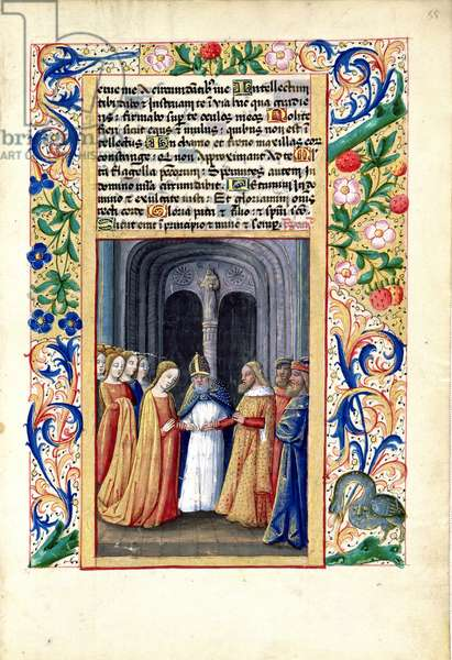 Ms Lat. Q.v.I.126 f.55 The marriage of Michal to David, from the 'Book of Hours of Louis d'Orleans', 1469 (vellum)