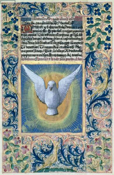 Ms Lat. Q.v.I.126 f.90 The Holy Spirit, from the 'Book of Hours of Louis d'Orleans', 1469 (vellum)