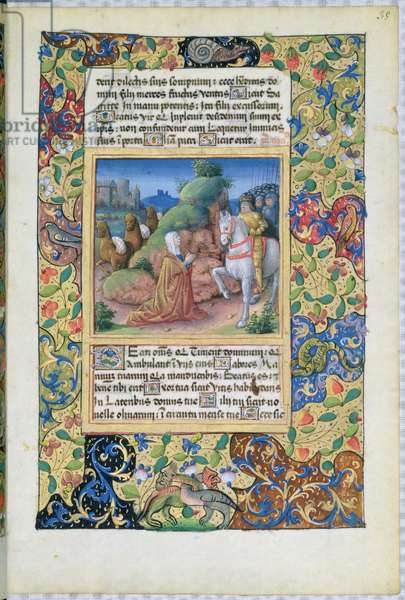 Ms Lat. Q.v.I.126 f.35 The meeting of Abigail and David, from the 'Book of Hours of Louis d'Orleans', 1490 (vellum)