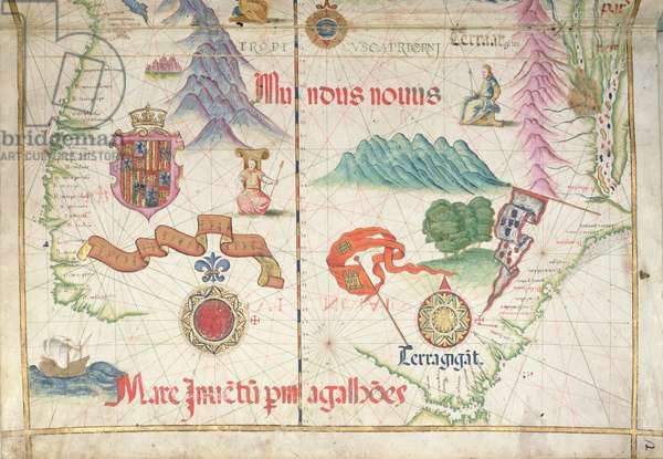 South America (South), detail from world atlas, 1565 (vellum)
