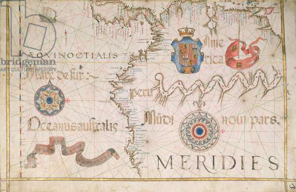 Peru and the Amazon, detail from a world atlas, 1565 (vellum)