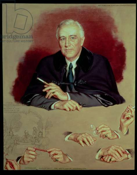 Study of Franklin Delano Roosevelt for the Painting `Big Three at Yalta', 1945 (oil on canvas)