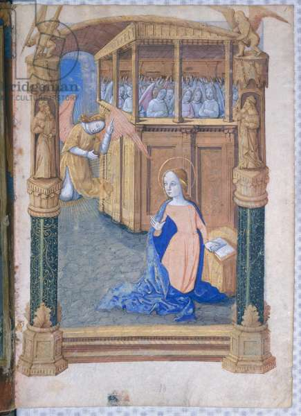 Ms Lat. Q.v.I.126 fol.12v The Annunciation, from 'Book of Hours of Louis d'Orleans', 1490 (vellum)
