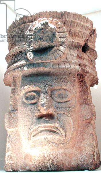 Figure wearing a feathered hat, 500-800 AD (stone)