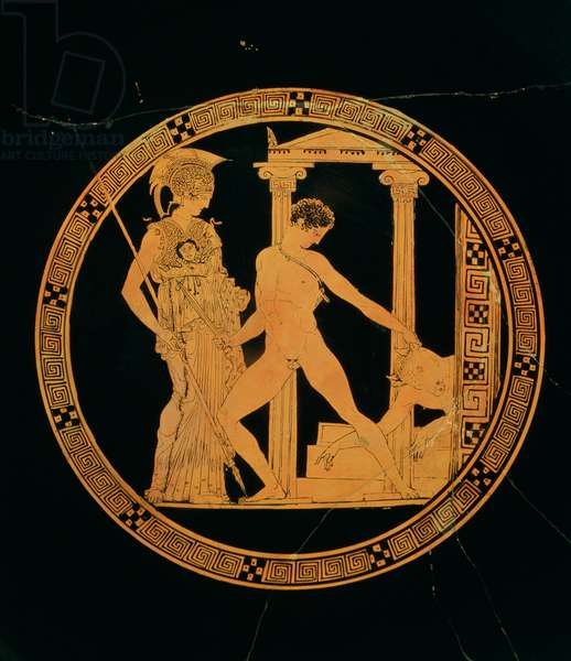 Red-figure cup depicting Athena, Theseus and the Minotaur (pottery)