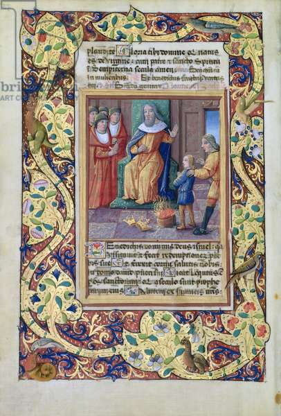 Ms. Lat. Q.v.I.126 fol.23v Joseph interpreting the dreams of Pharaoh, from the 'Book of Hours of Louis d'Orleans', 1490 (vellum)