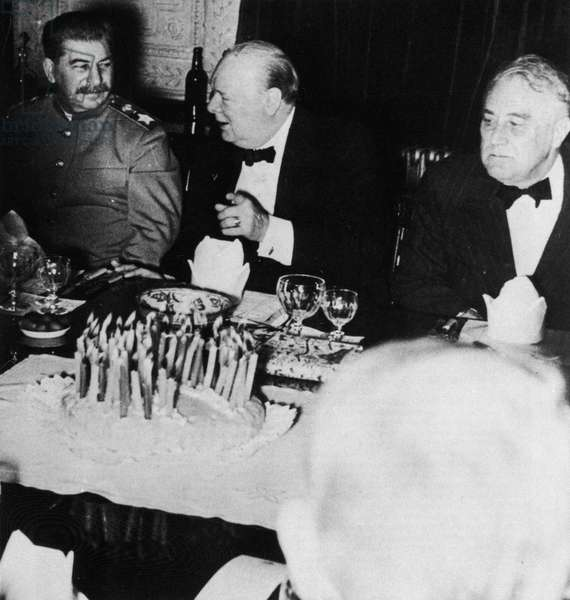 Josef Stalin (1879-1953) Franklin D.Roosevelt (1882-1945) and Winston Churchill (1874-1965) in Tehran, 11th December 1943 (b/w photo)