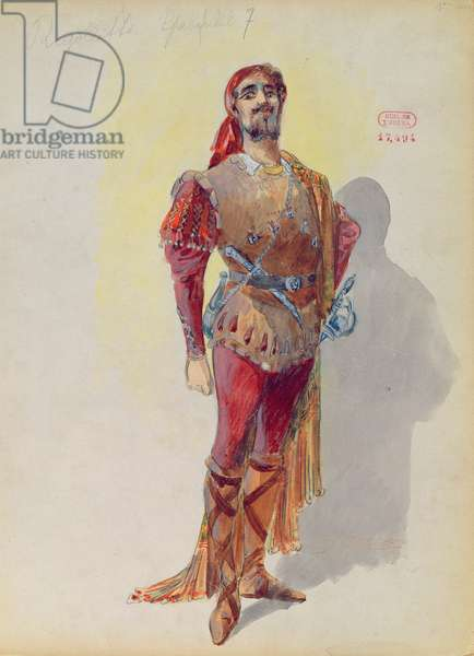 Sparafucile from 'Rigoletto' by Giuseppe Verdi (1813-1901) (w/c on paper)