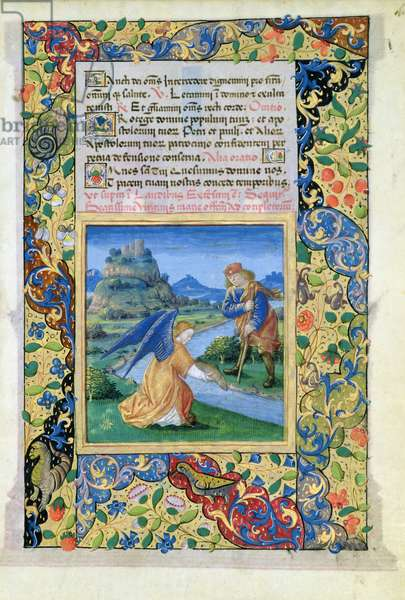 Ms Lat.Q.v.I.126 f.40 Tobias and the Angel, from the 'Book of Hours of Louis d'Orleans', 1469 (vellum)