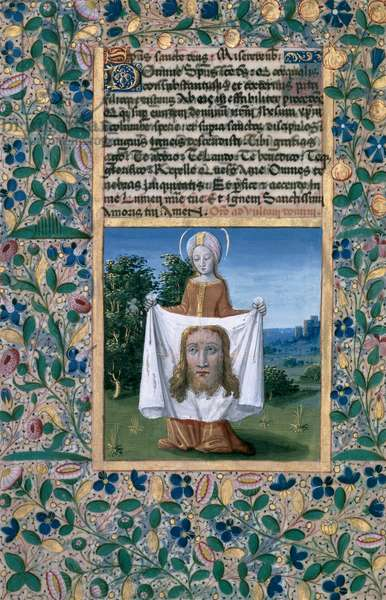 Ms Lat. Q.v.I.126 f.90v St. Veronica, from the 'Book of Hours of Louis d'Orleans', 1469 (vellum)
