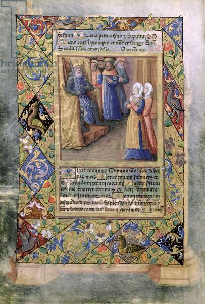 Ms Lat. Q.v.I.126 f.36v The Wisdom of Solomon, from the 'Book of Hours of Louis d'Orleans', 1490 (vellum)
