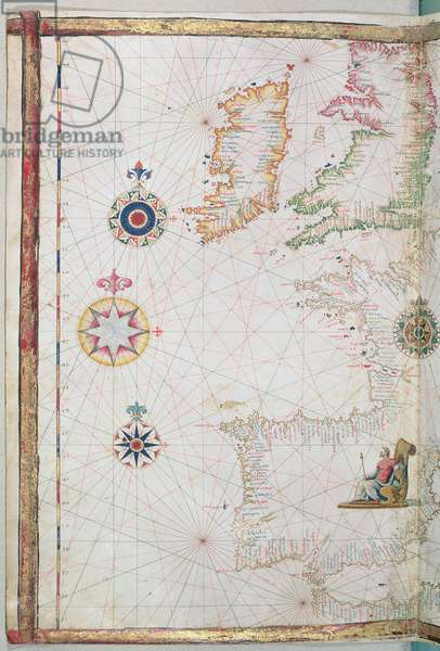 The British Isles and Iberia, detail from a world atlas, 1565 (vellum)