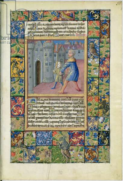 Ms Lat. Q.v.I.126 The Healing of the Blind Man, John 9:1-7 from the 'Hours of Louis d'Orleans', 1469 (vellum)
