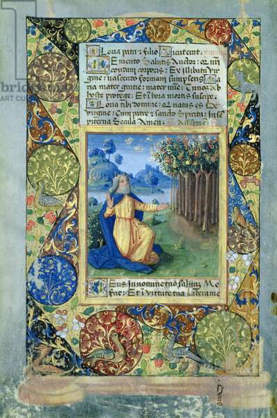 Ms. Lat. Q.v.I.126 fol.25v Moses before the burning bush, from the 'Book of Hours of Louis d'Orleans', 1490 (vellum)