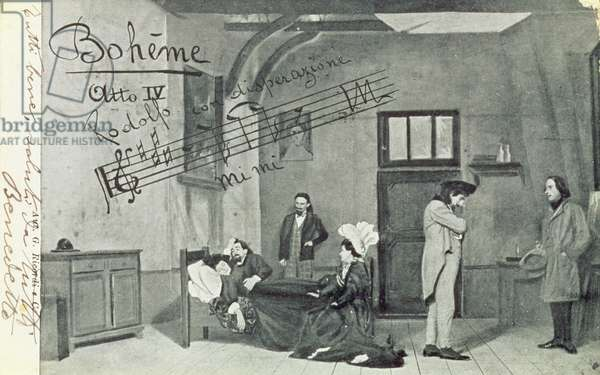 Scene from Act IV of the opera 'La Boheme', by Giacomo Puccini (1858-1924) (b/w photo)