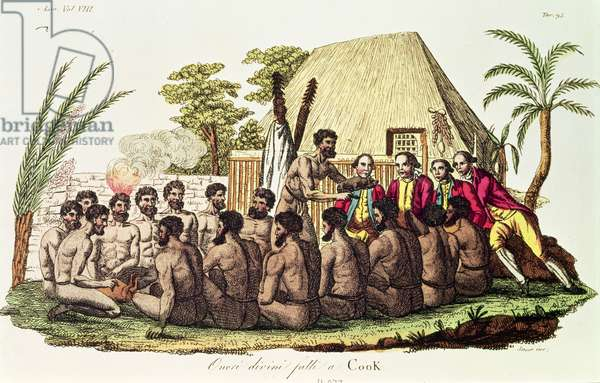 Divine Offerings Made to Captain Cook (1728-79) in the Sandwich Islands (coloured engraving)