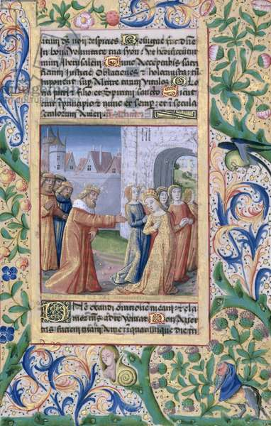 Ms Lat. Q.v.I.126 f.57 King David coveting Bathsheba, from the 'Book of Hours of Louis d'Orleans', 1469 (vellum)